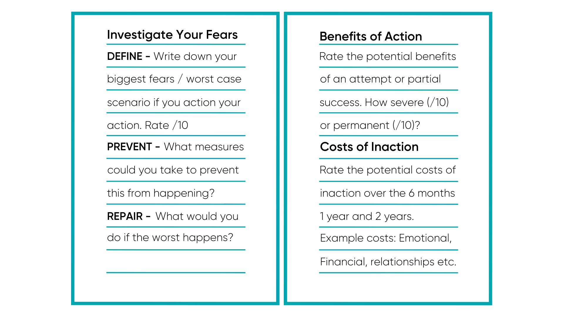 Fear Setting Guidelines