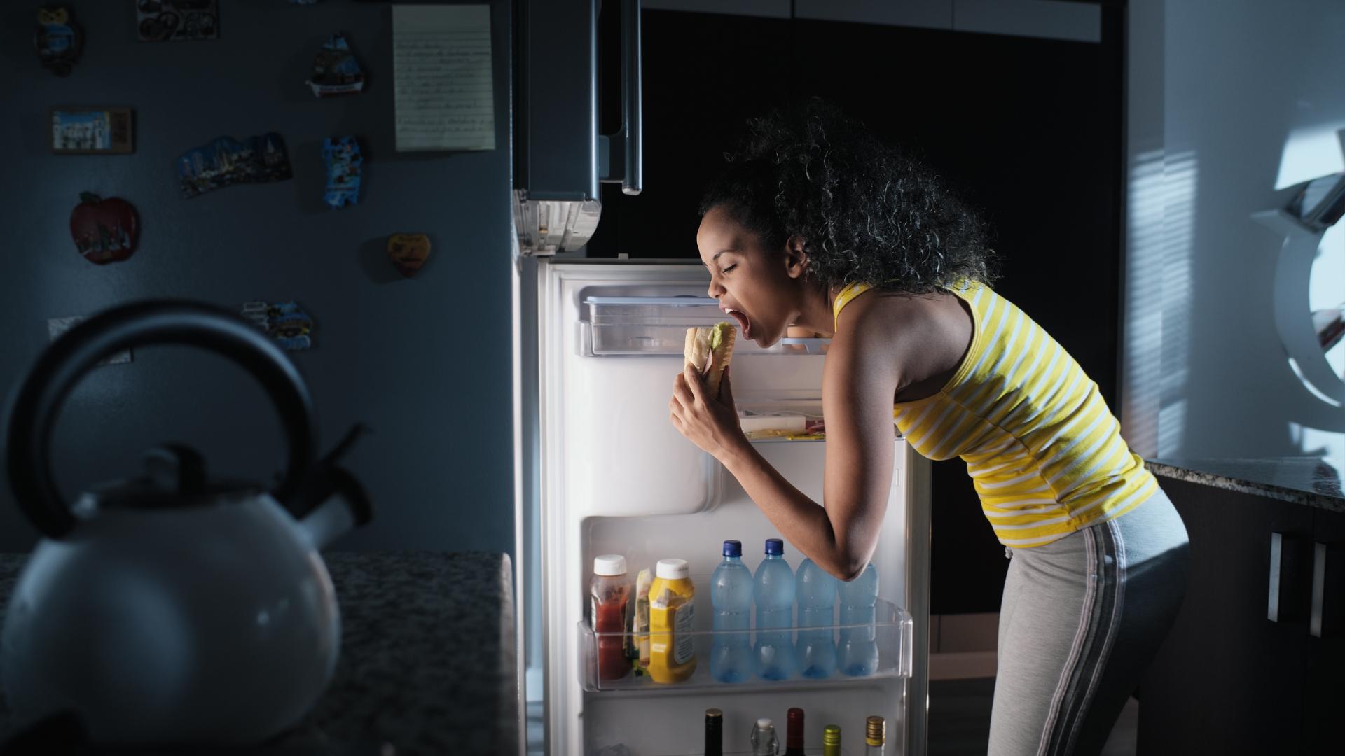 Bored fridge snacking
